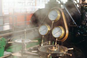 A part-built steam engine