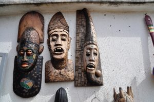 An African carving of a grotesque head